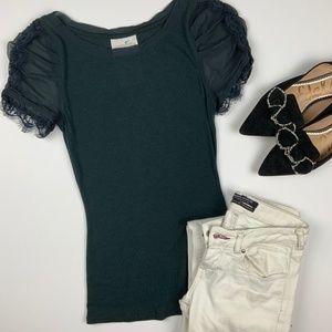 Anthro Odonate Epiprocta Cotton T lace sleeves